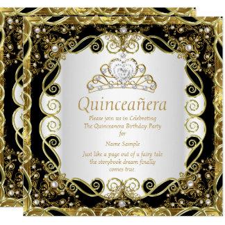Elegant Black Gold Pearl Princess Quinceanera Card