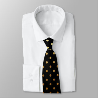 elegant black gold polka dot pattern tie