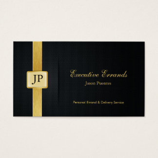 Elegant Black & Gold Professional Errand Service Business Card