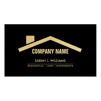 Elegant Black & Gold Professional Real Estate Double-Sided Standard Business Cards (Pack Of 100)