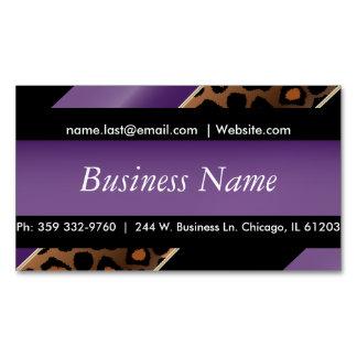 Elegant Black, Gold & Purple Leopard Stripes Magnetic Business Card