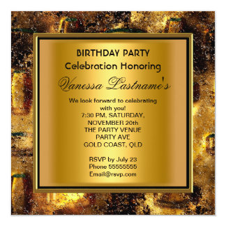 Elegant Black Gold Rusty Metal Look Birthday Party Custom Announcements