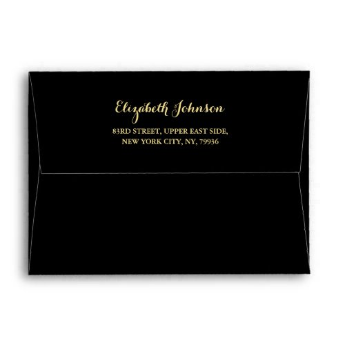 Elegant Black Gold Script Name Return Address 5x7 Envelope