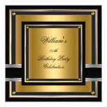 Elegant Black Gold Silver Birthday Party Mens Mans 5.25x5.25 Square Paper Invitation Card