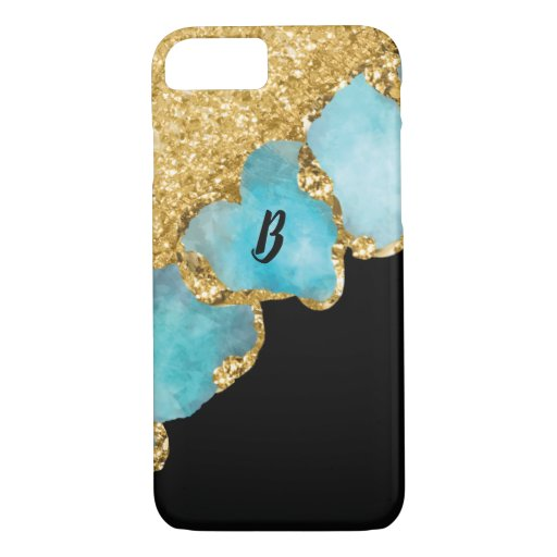 Elegant Black Gold Sparkle Glitter Monogrammed iPhone 8/7 Case
