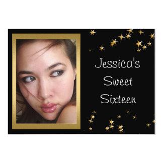 Elegant Black Gold Stars Photo Sweet 16 5x7 Paper Invitation Card