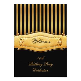 Elegant Black Gold Stripe Birthday Party Men's Man Card