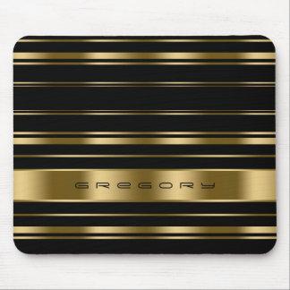 Elegant Black & Gold Stripes Pattern Mouse Pad