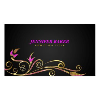 Elegant Black & Gold Swirl Pink Accents Double-Sided Standard Business Cards (Pack Of 100)