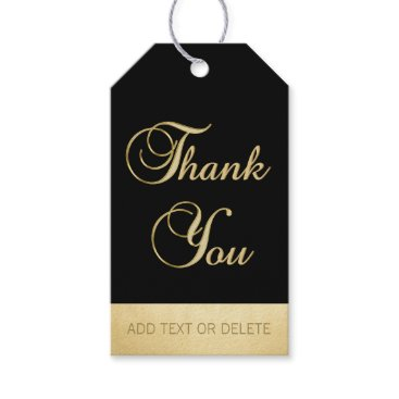 Professional Business Elegant Black Gold THANK YOU gift favor Gift Tags
