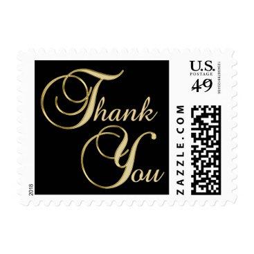 Professional Business Elegant Black Gold THANK YOU Wedding Anniversary Postage