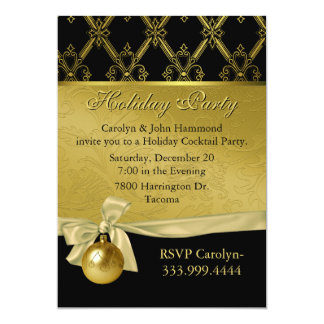 Elegant Black & Gold Tone Holiday Party Invitation