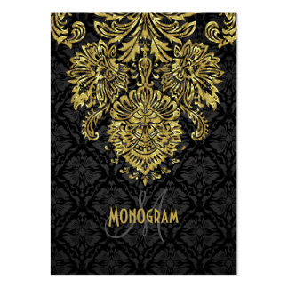 Elegant Black & Gold Tones Floral Damasks Large Business Cards (Pack Of 100)