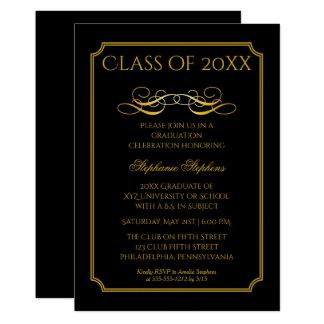 Elegant Black | Gold University Graduation Party Card