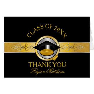 Elegant Black Gold University Graduation Thank You Card