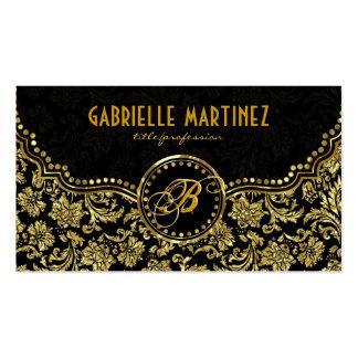 Elegant Black & Gold  Vintage Floral Damasks Double-Sided Standard Business Cards (Pack Of 100)