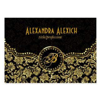 Elegant Black & Gold  Vintage Floral Damasks Large Business Cards (Pack Of 100)