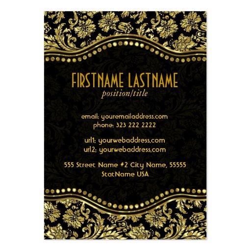 Elegant Black & Gold  Vintage Floral Damasks Business Card (back side)
