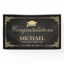 Elegant Black Gold Vintage Frame Graduate Party Banner