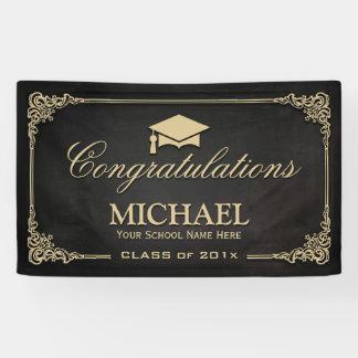 Elegant Black Gold Vintage Frame Graduate Student Banner