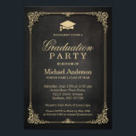 """Elegant Black Gold Vintage Frame Graduation Party Card<br><div class=""""desc"""">Elegant Black Gold Vintage Frame Graduation Party Invitation.  (1) For further customization,  please click the &quot;customize further&quot; link and use our design tool to modify this template.  (2) If you need help or matching items,  please contact me.</div>"""