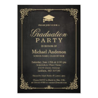 Elegant Black Gold Vintage Frame Graduation Party Card