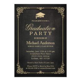 Graduation party invitations zazzle elegant black gold vintage frame graduation party card filmwisefo Images