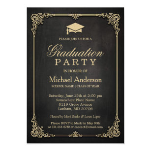 Graduation party invitations zazzle elegant black gold vintage frame graduation party card filmwisefo