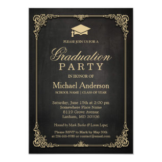 Elegant Black Gold Vintage Frame Graduation Party Card at Zazzle