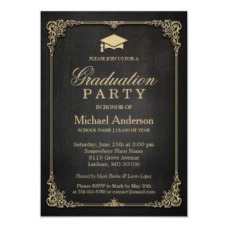 Graduation Party - Elegant Black Gold Vintage Frame Graduation Party Card