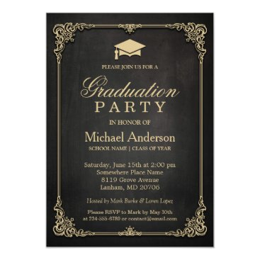 CardHunter Elegant Black Gold Vintage Frame Graduation Party Card