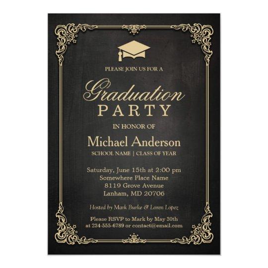 Elegant Black Gold Vintage Frame Graduation Party Card Zazzlecom