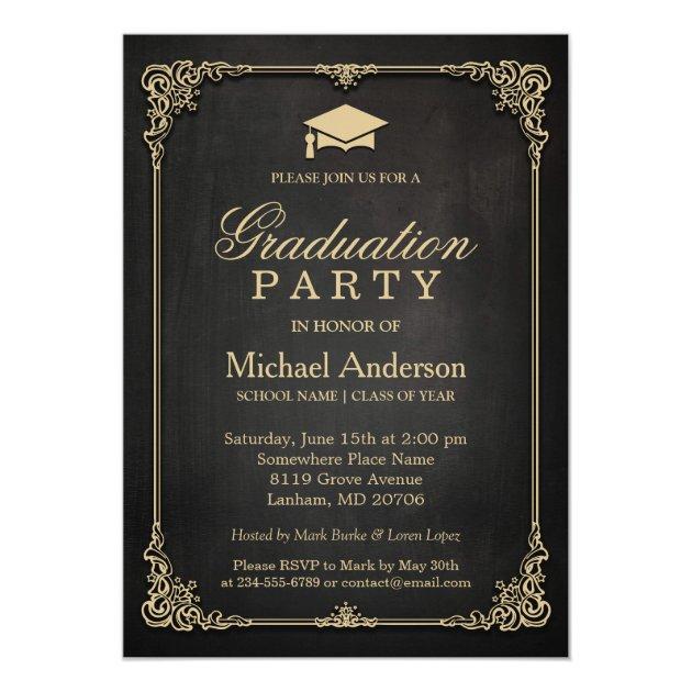 Elegant Black Gold Vintage Frame Graduation Party Card (front side)