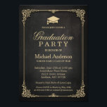 "Elegant Black Gold Vintage Frame Graduation Party Invitation<br><div class=""desc"">Elegant Black Gold Vintage Frame Graduation Party Invitation.  (1) For further customization,  please click the &quot;customize further&quot; link and use our design tool to modify this template.  (2) If you need help or matching items,  please contact me.</div>"