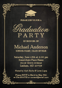 Graduation invitations zazzle elegant black gold vintage frame graduation party invitation filmwisefo