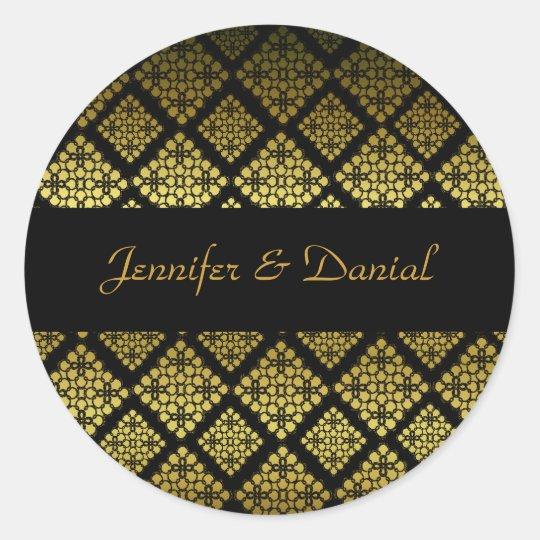 Elegant Black & Gold Wedding Envelope Seal