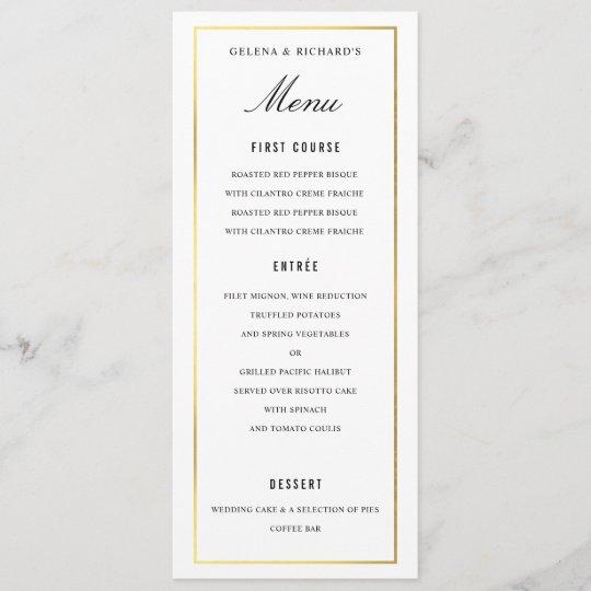 Elegant Black Gold Wedding Food And Drink Menu