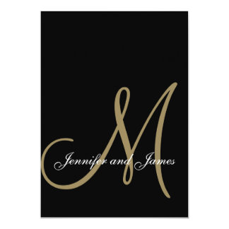 Elegant Black Gold Wedding Invitations Initial