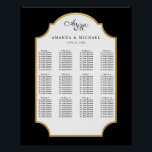 "Elegant Black | Gold Wedding Seating Chart<br><div class=""desc"">Classic styling in black and white with a touch of gold,  this wedding seating chart poster makes seating easy when displayed at your reception.  Perfect for any elegant wedding theme.</div>"