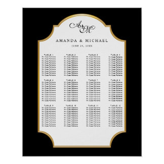 Elegant Black | Gold Wedding Seating Chart