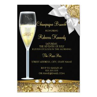 Elegant Black Gold White Champagne Brunch Invite