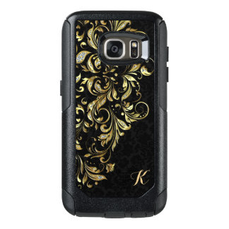 Elegant Black Gold & White Glitter Floral Lace OtterBox Samsung Galaxy S7 Case