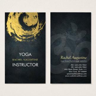 Elegant Black & Gold YOGA ZEN Symbol Brushstrokes Business Card