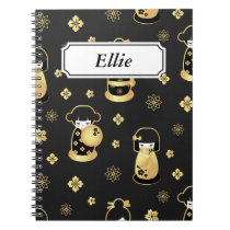 Elegant black golden Japanese dolls Notebook