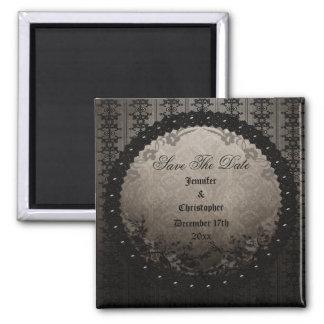 Elegant Black Gothic Frame Save The Date Wedding Fridge Magnets