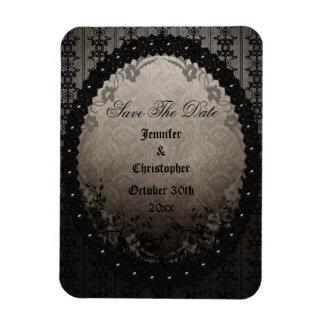 Elegant Black Gothic Frame Save The Date Wedding Vinyl Magnets