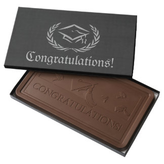 Elegant Black Graduation Custom Milk Chocolate Bar