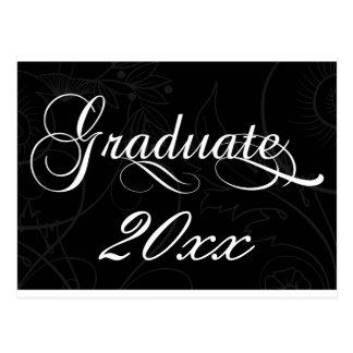 elegant black Graduation party Invitation Postcard