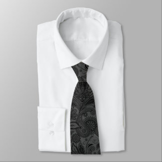 Elegant Black & Gray Monochromatic Paisley Tie
