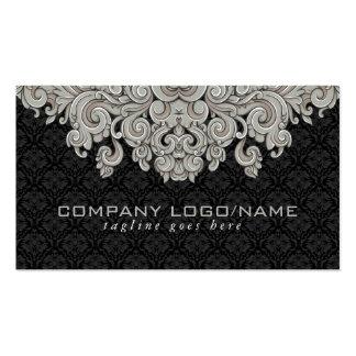 Elegant Black & Gray  Vintage Floral Damasks 2 Double-Sided Standard Business Cards (Pack Of 100)